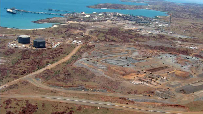 Aerial view of the Burrup Ammonia plant under construction in West Australia.