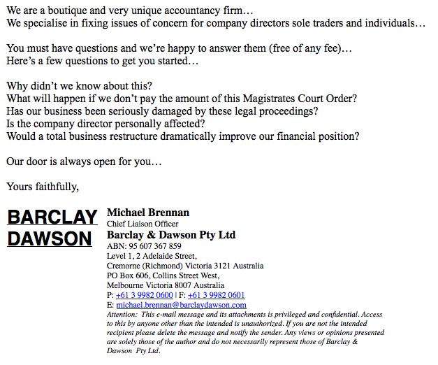 Excerpt from the email sent to a distressed business by pre-insolvency advisors Barclay & Dawson.